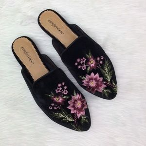 Woman's Comfortview Black Suede Mules Size 9.5